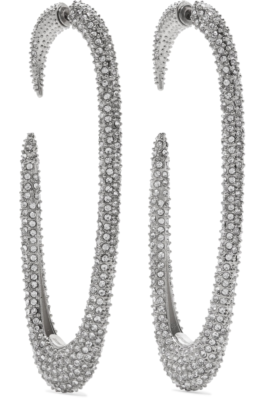 SAINT LAURENT Silver-tone crystal earrings