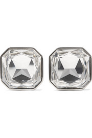 Saint Laurent Smoking silver-tone crystal clip earrings