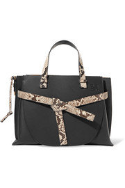 Loewe Gate python-trimmed textured-leather tote