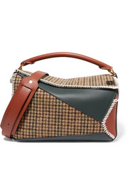 Puzzle tweed and leather shoulder bag