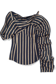 Michelina cold-shoulder ruffled striped cotton-poplin blouse