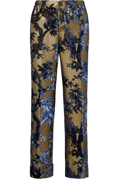 F.R.S FOR RESTLESS SLEEPERS ETERE DEVORÉ-LUREX STRAIGHT-LEG PANTS