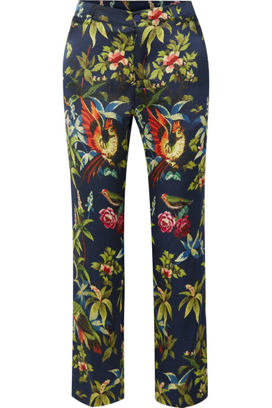 F.R.S FOR RESTLESS SLEEPERS TARTARO PRINTED HAMMERED-SILK STRAIGHT-LEG PANTS