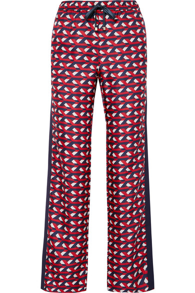 F.R.S For Restless Sleepers - Ettore Grosgrain-trimmed Silk-twill Straight-leg Pants - Red