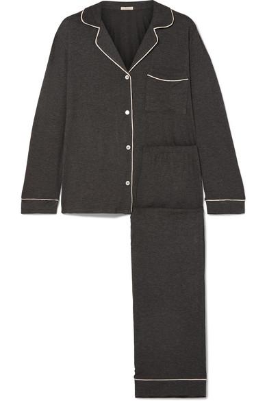 Gisele Stretch-Jersey Pajama Set in Charcoal