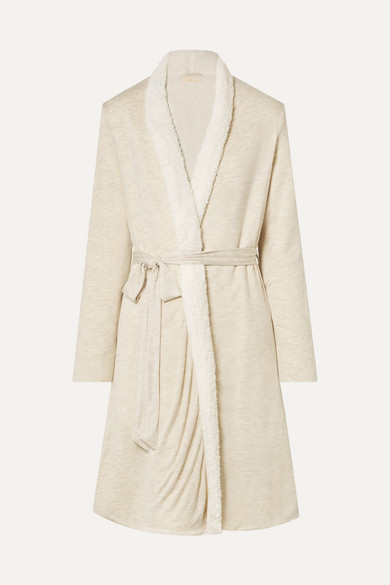 Eberjey ALPINE CHIC SLUB MODAL-JERSEY AND FAUX SHEARLING ROBE