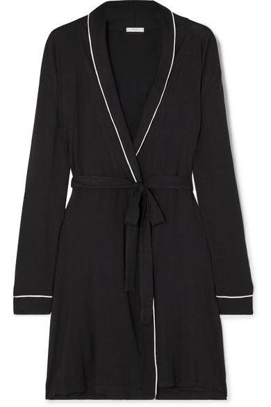 Gisele Two-Tone Stretch-Modal Robe in Black