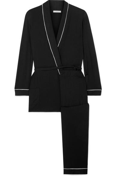 Gisele The Nightcap Stretch-Modal Jersey Pajamas in Black