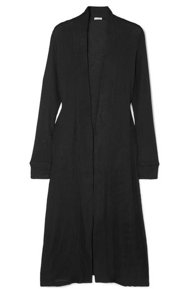 Ula Waffle-Knit Stretch-Modal Jersey Cardigan in Black