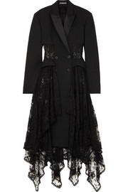 Alexander McQueen Layered silk-satin trimmed wool-blend and lace coat