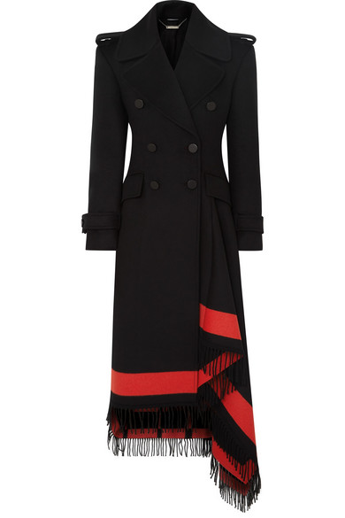 Double-Breasted Wool-Cashmere Coat W/ Striped Fringe Trim in Black