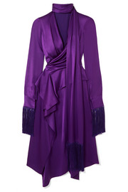 Alexander McQueen Fringed cutout silk-satin midi dress