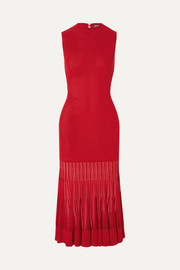 Alexander McQueen Mesh-paneled ribbed stretch-knit dress