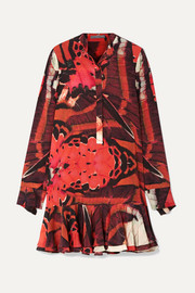 Alexander McQueen Fluted printed silk crepe de chine mini dress