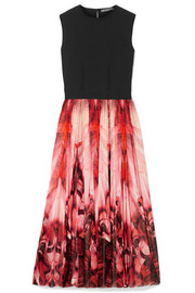 Alexander McQueen Stretch-jersey and printed stretch-knit midi dress
