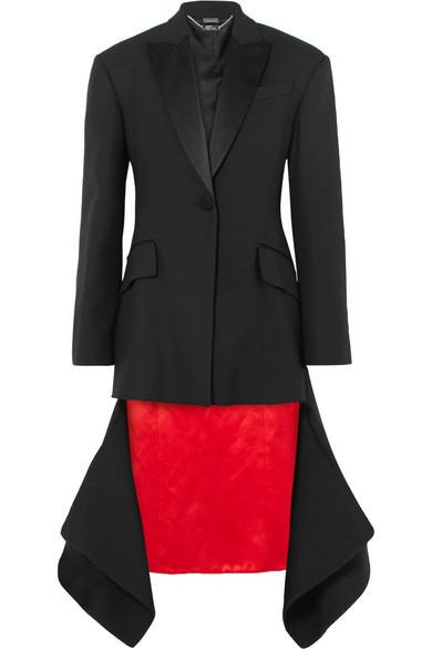 Asymmetric Satin-Trimmed Wool-Blend Jacket in Black
