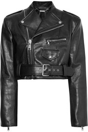 Alexander McQueen Cropped textured-leather biker jacket