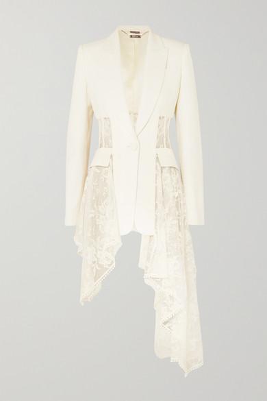 200459f07d Alexander McQueen. Asymmetric wool-blend crepe and lace blazer