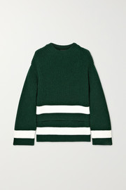 Alexander McQueen Striped ribbed wool and cashmere-blend sweater
