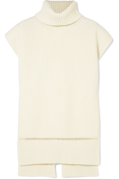 Pointelle Trimmed Ribbed Wool And Cashmere Blend Turtleneck Sweater by Alexander Mc Queen