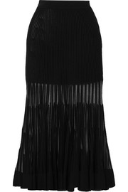 Alexander McQueen Mesh-paneled ribbed stretch-knit midi skirt