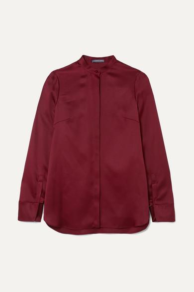 Alexander McQueen - Cutout Silk-satin Blouse - Crimson