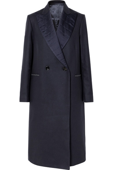 Cristal Quilted Satin-Trimmed Wool-Blend Coat in Navy