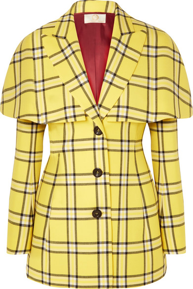 Cape-Effect Checked Wool Blazer in Bright Yellow