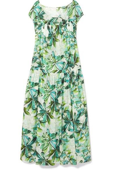 EYWASOULS MALIBU Caroline Printed Cotton-Voile Maxi Dress in Bright Green