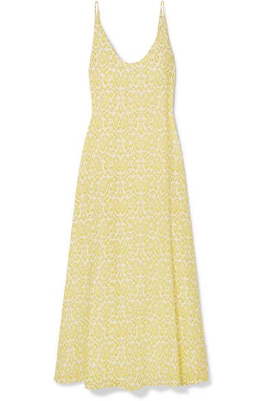 EYWASOULS MALIBU Jane Printed Cotton-Voile Maxi Dress in Pastel Yellow