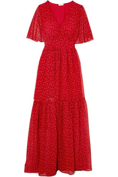 EYWASOULS MALIBU Maria Tiered Floral-Print Chiffon Maxi Dress in Red