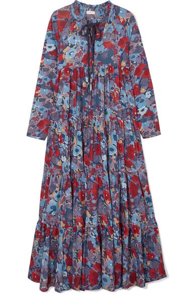 998ac7eaacc7d Eywasouls Malibu | Cora tiered floral-print cotton-voile maxi dress ...