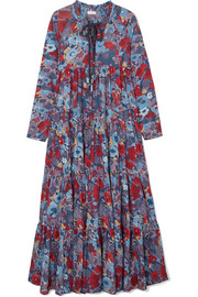 Cora tiered floral-print cotton-voile maxi dress