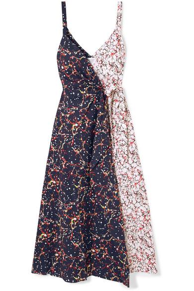 Rosie Assoulin Cottons THAT'S A WRAP! MARBLED COTTON-BLEND POPLIN WRAP DRESS