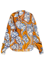 Printed silk-blend crepe de chine shirt