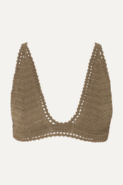 She Made Me Lalita crocheted cotton triangle bikini top
