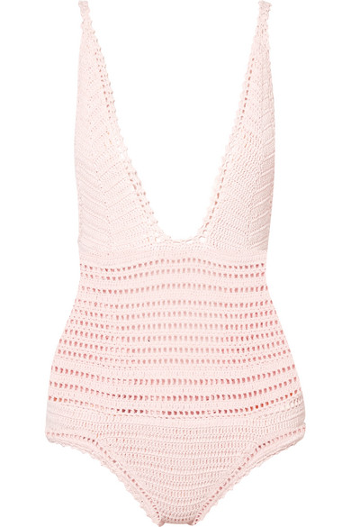 She Made Me - Lalita Crocheted Cotton Swimsuit - Pastel pink