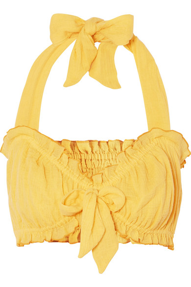 SHE MADE ME Kali Bow-Embellished Halterneck Crinkled-Cotton Top in Yellow