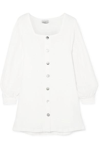 SHE MADE ME Kali Crinkled-Cotton Mini Dress in White