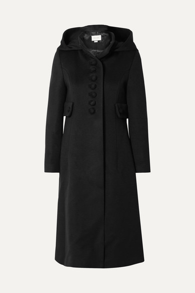 Buttoned Flared Coat in Black