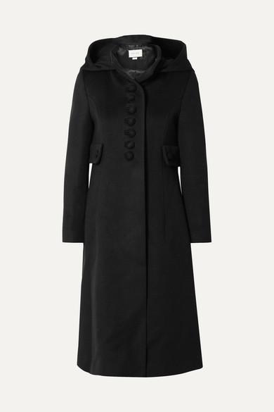 Hooded Wool Coat in Black