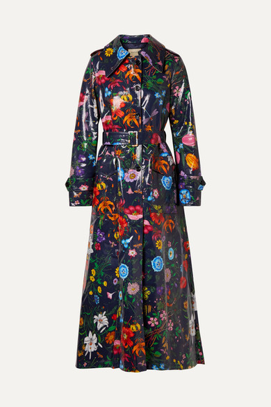 Oversized Floral-Print Coated-Cotton Drill Trench Coat in Navy