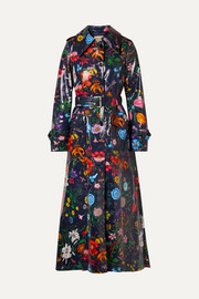 Gucci Oversized floral-print coated-cotton drill trench coat