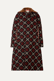 Gucci Faux shearling-trimmed wool-jacquard coat