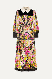 Gucci Velvet-trimmed pleated floral-print silk-twill maxi dress