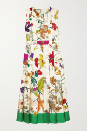 Gucci Pleated floral-print silk midi dress