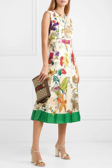 b48b99ca3 Gucci | Pleated floral-print silk midi dress | NET-A-PORTER.COM