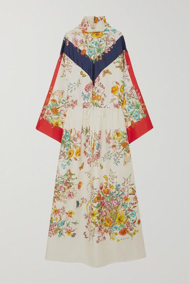 Floral-Print Silk-Twill Maxi Dress in Ivory