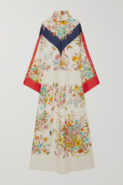 Gucci Floral-print silk-twill maxi dress