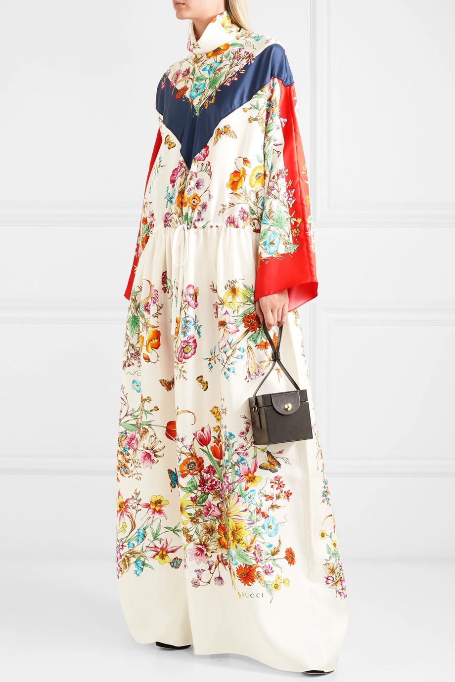 Gucci Maxikleid aus Seiden-Twill mit Blumendruck